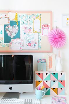 Super colorful and cute creative workspace + home office!
