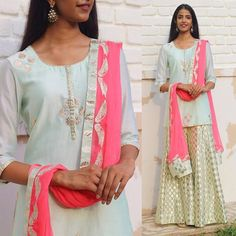 A beautiful pastel blue and some subtle shimmer to beat the Monday blues ✨  Chandleri kurta-sharara with brocade appliqué detailing. To shop this outfit, mail at amritathakurstudio@gmail.com   #AmritaThakur #AmritaThakurStudio #Kurta #Blue #IndianWear #IndianFashion #Ethnic #Weddings #IndianWeddings #SummerWeddings #Fashion #Style #InstaFashion #Model #Wedding #Trousseau #WomensFashion #Outfit #OOTD #Delhi #Mumbai #Chandigarh #Amritsar #India #London #Toronto #Vancouver #NewYork