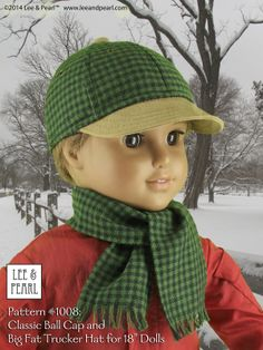 """It's an all-season pattern! Here's the baseball cap made out of buffalo check flannel with a leather-look brim and coordinating scarf. Lee & Pearl Pattern #1008: Classic Ball Cap and Big Fat Trucker Hat for 18"""" Dolls (American Girl Dolls) by leeandpearl. Now available in our Etsy store at https://www.etsy.com/shop/leeandpearl"""