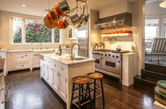 For those who love a classic kitchen, look no further than this space in a charming 1920's beach house. The kitchen has white marble, subway tiles, a farmhouse sink, Viking range, and Sub-Zero refrigerator. Rate: $4,800/week   - HouseBeautiful.com
