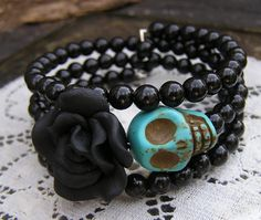 Day of the Dead Bracelet Wrap Around Memory Wire by shabbyskull, $10.00