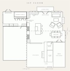 Gambrel House with Center Chimney and Ell First Floor Plan ...