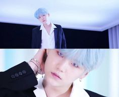 Yoongi back at it again with the blue hair   #DNA #BTSALBUM2DAYS #BTS #SUGA