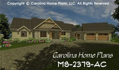 Comfortable, 1-story house plan with 2 bedrooms, study and 3 baths and open floor plan layout.