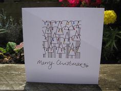 Handmade Christmas Card - drawn and painted by hand. Christmas Trees. auf Etsy, 2,37 €