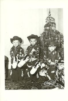 """Vintage Christmas Photo ~ Boys in Cowboy Outfits w/ Hobby Horses * The back is inscribed: """"To: Grandma Love, Gary, Bobbie & Daryhl - Christmas of 1953"""""""