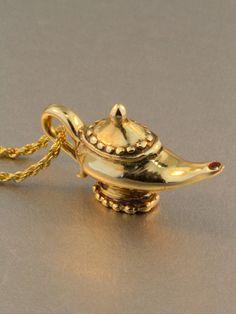 14K Gold Magic Lamp Charm Pendant..