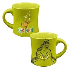 Enjoy the holidays and your favorite beverage with this 12 ounce Dr. Seuss How The Grinch Stole Christmas Coffee Mug. This officially licensed How The Grinch Stole Christmas mug is green and shows the The Grinch Dog, O Grinch, Dr Seuss Grinch, Grinch Stole Christmas, Christmas Humor, Christmas Holidays, Grinch Party, Christmas Ideas, Christmas Crafts