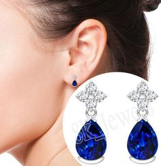 0.60ct NATURAL DIAMOND SAPPHIRE 14K WHITE GOLD WEDDING ANNIVERSARY EARRING  #Sk_Jewels #Stud