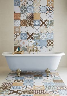 LOVE LOVE this idea Stamford tile from Topps Tiles - small floor space in the en-suite could take something this bold