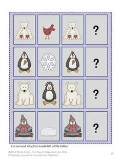 The penguin and polar bear file folder games include: 1. Letter Matching - Students practice matching upper and lower case letters. 2.  Counting - Students will love counting polar bears to match the number given. 3. Sorting by Size - Great graphics will help students sort polar pals by size from smallest to largest. 4. Making a Pattern - Students will complete the pattern by determining what comes next. 5. Colors - Students match adorable birds of 11 different colors.