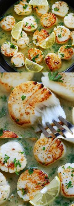 Personalized Graduation Gifts - Ideas To Pick Low Cost Graduation Offers Garlic Butter Scallops With Lemon Sauce Better Than Restaurants Pan-Seared Scallops With Buttery Lemon Sauce, Cheaper And So Delicious Fish Recipes, Seafood Recipes, New Recipes, Cooking Recipes, Favorite Recipes, Healthy Recipes, Clam Recipes, Copycat Recipes, Recipes Dinner