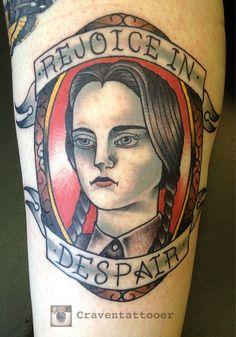"25 Wicked Halloween Tattoos | Tattoodo.com - Wednesday Addams - ""Rejoice in Despair"""