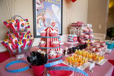 Circus Party Dessert Table featuring Vintage Carnival Sign