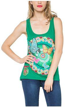 #Desigual Shirt - Modell Saker, Muster: floral, exotisch und Kreise, grün.