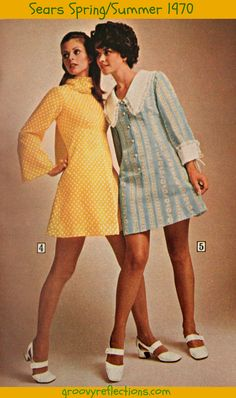 Soft yellow and blue. Bell sleeves! Far out! Sears 1970 Spring / Summer catalog.