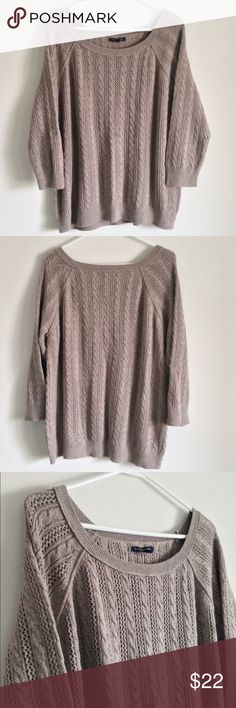 "Cable 3/4 sleeve Sweater Mocha color. Comfortable and soft. No stains or holes. Cable knit style. 55% cotton 25% acrylic 15% nylon 5% wool. Measurement laying flat: bust: 22.5"" length: 26"" American Eagle Outfitters Sweaters Crew & Scoop Necks"