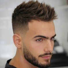 Mens Hairstyles Pompadour, Mens Hairstyles With Beard, Cool Hairstyles For Men, Hair And Beard Styles, Short Hair Styles, Oscar Hairstyles, Boy Hairstyles, Short Fade Haircut, Hipster Haircuts For Men