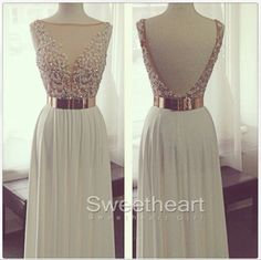 White A-line Chiffon Long Prom Dresses, Formal Dress #prom #promdress #dress #formaldress