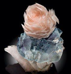 Calcite su fluorite da yaogangxian, Cina (esemplare: bene Mineral International, fotografia: James Elliott)