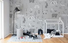 Kinderbehang grijstinten zwart en wit bij LIVING-shop behang webshop kopen! #kinderkamer #behang #kinderbehang
