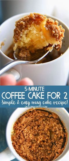 Coffee Cake for Two is loaded with cinnamon & buttery crumb topping. Ea… Coffee Cake for Two is loaded with cinnamon & buttery crumb topping. Easy mug cake recipe makes it simple to have cake for 2 in under 5 minutes. Mug Recipes, Cake Recipes, Dessert Recipes, Steak Recipes, Coffee Recipes, Recipies, Cooking Recipes, Small Desserts, Fancy Desserts