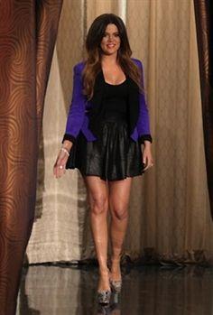 Khloe Kardashian rocks the Rebecca Minkoff Becky Jacket in blue and black