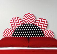 Red Chevron Fabric Flower Headboard  Kids by DesignerHeadboards, $299.00
