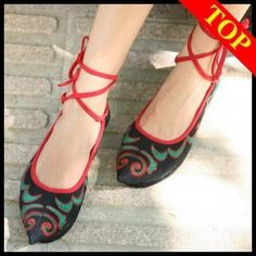 Hanwu Embroidered pointed cloth flats-green-miyafeeling.com