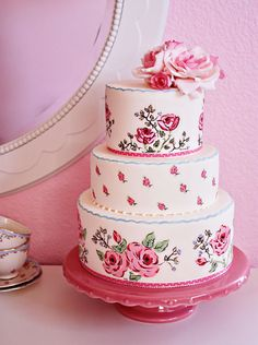 Pretty pink vintage wedding cake