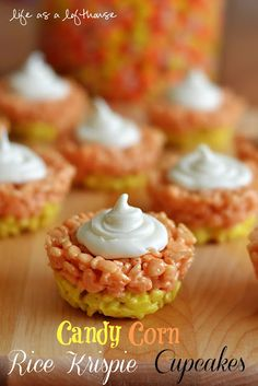 CANDY CORN RICE KRISPIE CUPCAKES