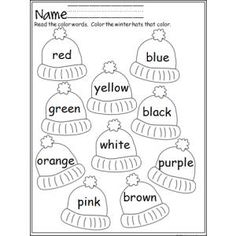 """Colorful Winter Hats"" Color Review Worksheet (free; from Made by Teachers)"