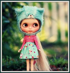 A kitty helmet commission...and a sweet dress from Siri! by *Sweet Days*, via Flickr