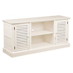 Pairing versatile style with classic appeal, this country-chic media console showcases a white finish, while 2 louvered doors and open shelving offer ample s...