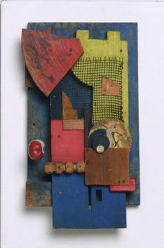 Kurt Schwitters, Merz Konstruktion, 1921, bois peint, papier, grille en métal, 36,8 x 21,6cm, Philadelphie, Museum of Art