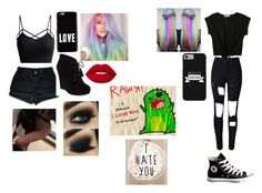 bestie outfit by princess-kirey05 on Polyvore featuring polyvore, fashion, style, WithChic, Jessica Simpson, Converse, Casetify, Givenchy, Toni&Guy and clothing