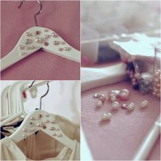 DIY: Realiza tu propia percha para el día de tu boda | Preparar tu boda es facilisimo.com Diy Clothes Hangers, Diy Hangers, Fun Crafts, Diy And Crafts, Hanger Crafts, Craft Room Decor, Boutique Decor, Wedding Hangers, Wooden Hangers