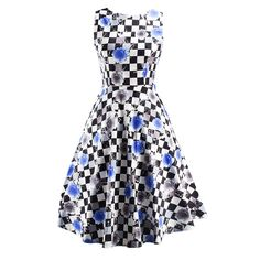 Plaid Rose Women Summer Dress 50s Pinup Vintage Audrey Hepburn Style O-Neck Casual Rockabilly Dress Party Vestido de Festa * Be sure to check out this awesome product.