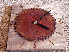 Saw Blade, Reclaimed Barn Wood Rusy Nail Clock - pinned by pin4etsy.com