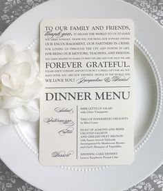 Check out this item in my Etsy shop https://www.etsy.com/listing/220231362/printable-wedding-thank-you-menu-modern