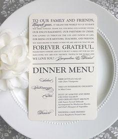 Matrimonio stampabile ringraziare voi Menu - Script classico moderno - stile MTY2 - graziosa collezione