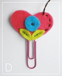 Heart bookmarks.  Simple sewing project.  A button instead of the flower center? mothers day?