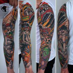 Yattaman / Tsubasa / Dragon Ball sleeve by Bartek Kos Tattoo https://www.instagram.com/bk_tats/