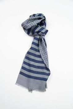 new styles b54c4 6138a GreyBlue StripePolka Dot Double Sided Scarf  Engineered Garments