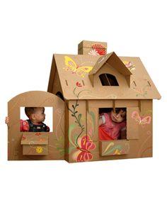 Casetta di cartone   www.thislittlepiggyshouse.com  Butterfly design cardboard playhouse