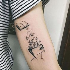 minimalist tattoo meaning Mini Tattoos, Body Art Tattoos, Small Tattoos, Modern Tattoos, Bookish Tattoos, Literary Tattoos, Hand Tattoo, Book Tattoo, Tattoo Ink