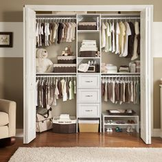 Make (even more) room for baby with a wood closet system! Featured: Selectives, available exclusively at @homedepot #HomeDepot #NurseryStyle #BabyRoom #Nursery #ClosetOrganization Baby Nursery Closet, Closet Bedroom, Baby Closets, Baby Girl Closet, Kid Closet, Small Baby Nursery, Small Space Nursery, Babies Nursery, Baby Boy Rooms