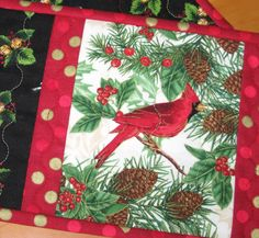 Christmas Holiday Quilted Mug Rugs Cardinals and by bonnpati, $15.00.  I love cardinals - our state bird.