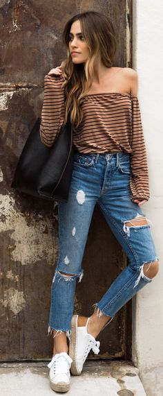 #spring #outfits /  Brown Striped Knit / Ripped Skinny Jeans / White Sneakers