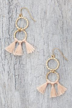 South Moon Under Double Circle Natural Tassel Drop Earrings in GOLD - overhead view